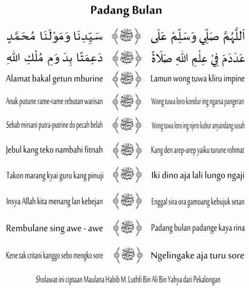 teks syiir jawa padang bulan habib luthfi bin yahya
