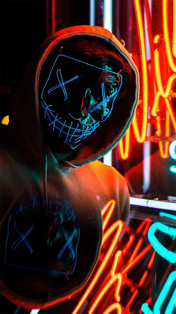 20 Art Mask Neon Girl wallpapers Ultra HD 4K for Android and iPhone
