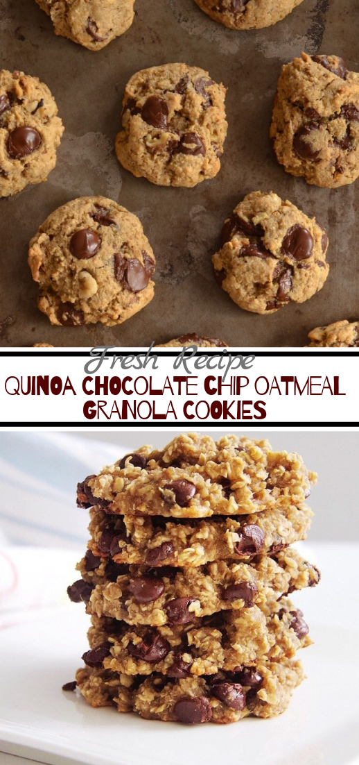 QUINOA CHOCOLATE CHIP OATMEAL GRANOLA COOKIES #desserts #cakerecipe #chocolate #fingerfood #easy