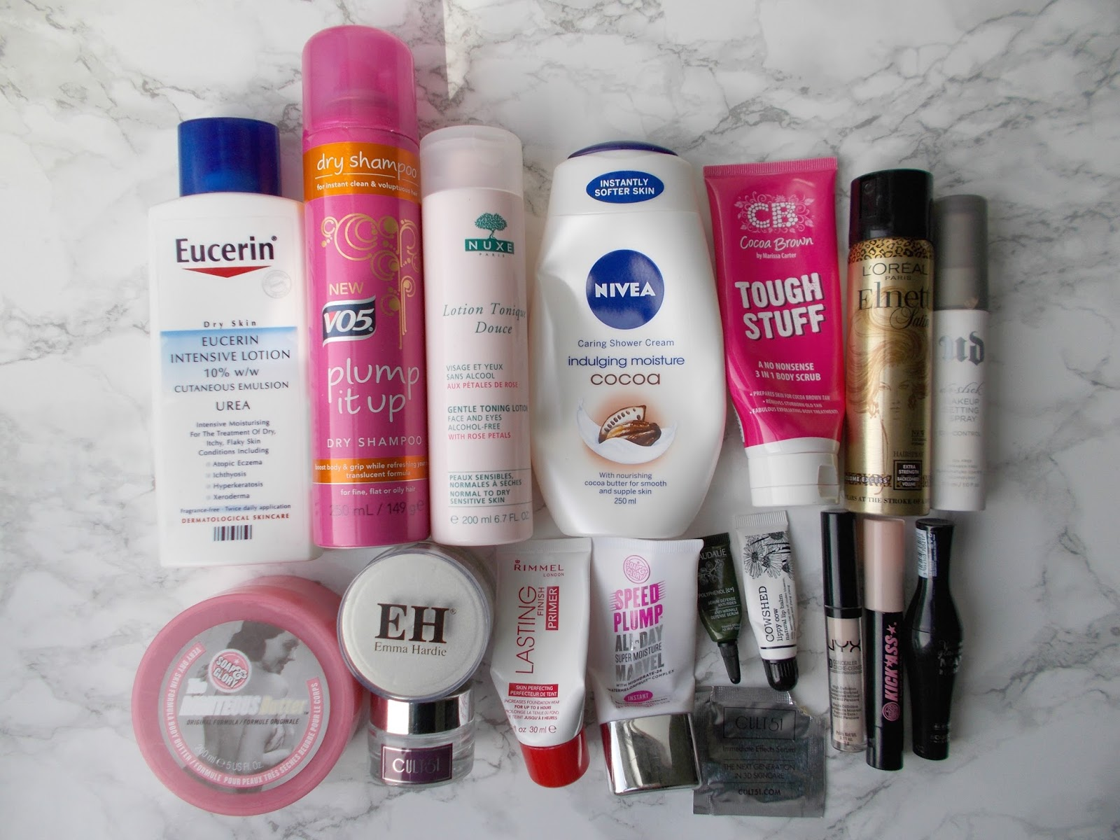 product empties hair body skin makeup eucerin cult 51 nivea urban decay nyx soap and glory