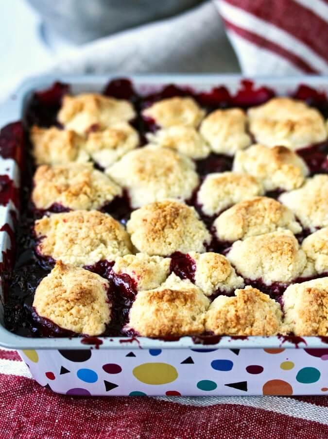 Blackberry Cobbler with drop biscuits