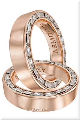 ♦Armoura Arclight baguette cut diamond eternity 18k rose gold ring #jewelry #armoura #brilliantluxury
