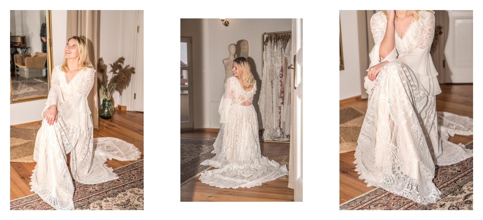 11a suknia ślubna z trenem sukienka z długimm rękawem z doczepianą spódnicą z gorsetem z falbanami w stylu rystykalnym suknia ślubna z rozporkiem z kieszeniami