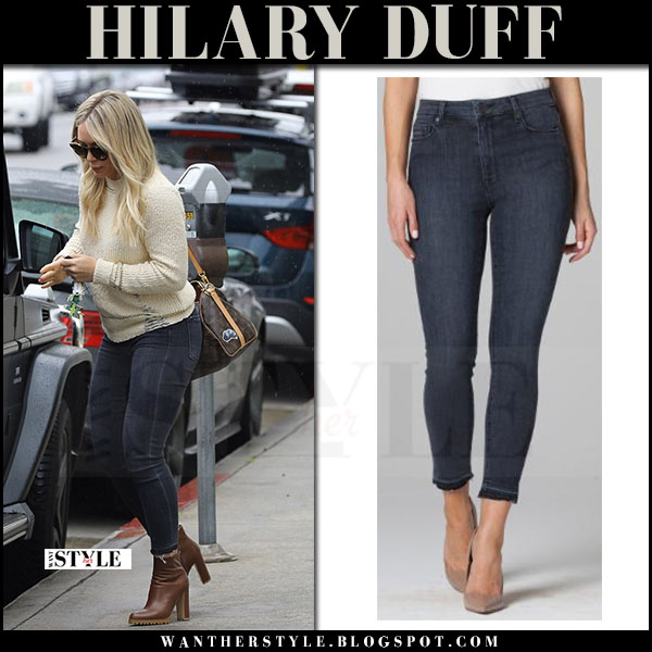Hilary Duff in cream sweater and dark blue skinny jeans parker smith what she wore march 2017