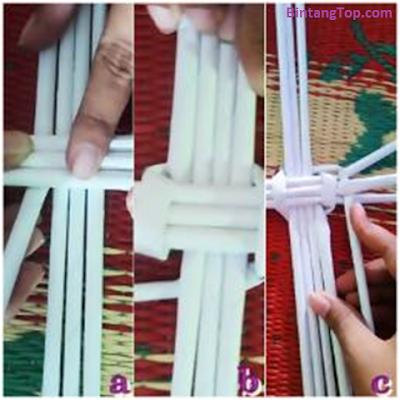 cara menganyam kertas jadi wadah