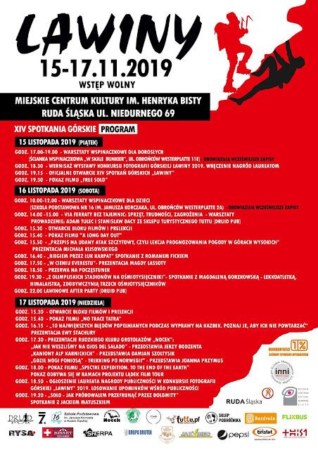 """Program XIV Spotkań Górskich """"Lawiny"""". Plakat."""