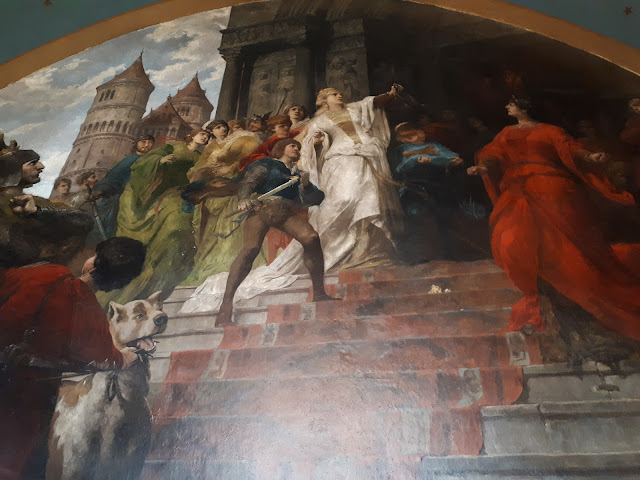 mural at drachenburg castle on drachenfells rock