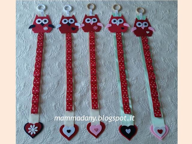 Porta cerchietti gufetto in feltro e raso  rosso realizzati a mano