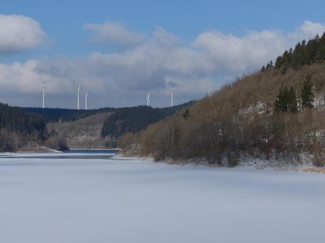 Eifel Urlaub Blumenthal Hund Ferienwohnung Winter Schnee Wanderung  Oleftalsperre