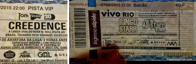 Ingressos para o show do Creedence e de Ringo Starr