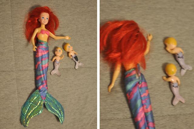 Boneca Ariel babysitter, com dois bebês sereios, antes da restauração