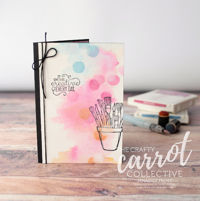 Crafting Forever, Stampin' Up!, Customer rewards program, The Crafty Carrot Collective, Watercolor background, Jar of Paint brushes, Papercraft by Jennifer Frost