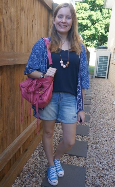 monochrome navy outfit v-neck tee denim shorts printed kimono and pink pop of colour Balenciaga city bag | awayfromblue