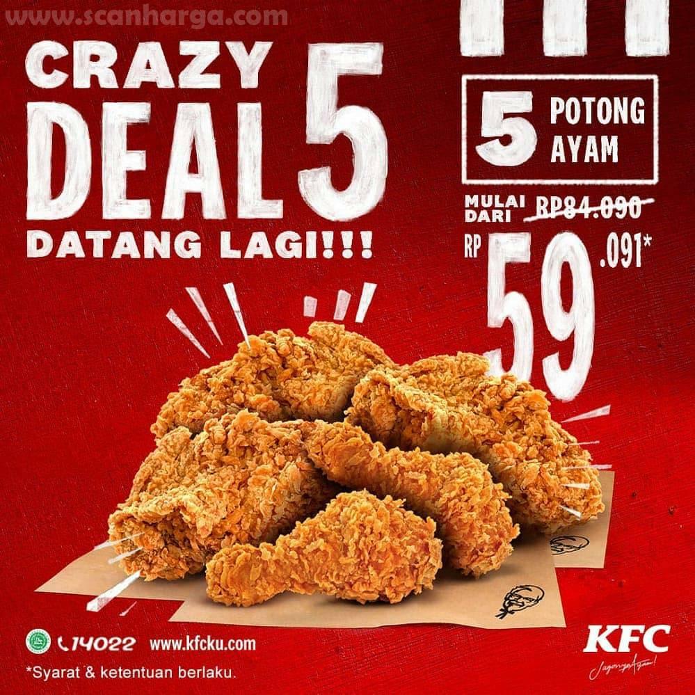 Promo KFC Crazy Deal Harga 5 Pcs Ayam Rp 59.091 Periode 14 - 20 September 2020