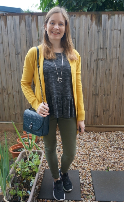 black peplum tee with olive skinny jeans and mustard yellow cardigan | away from the blue