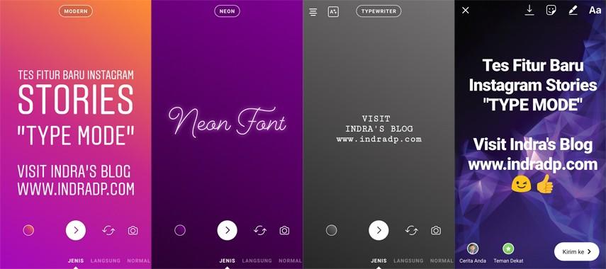 Instagram Stories Type Mode