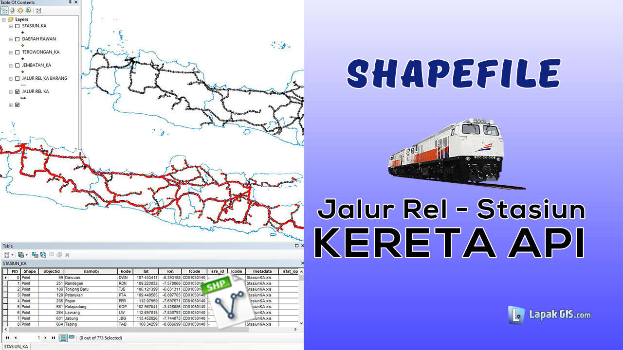 Shapefile Peta Sebaran Jalur Rel dan Stasiun Kereta Api