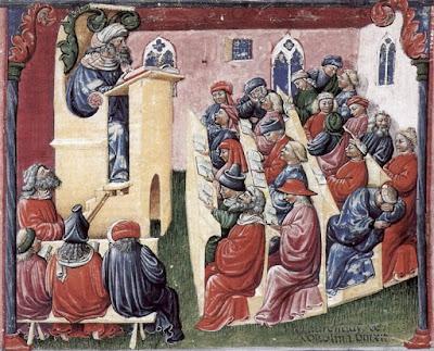 """Henrique da Alemanha com seus estudantes"", pintura de Laurentius de Voltolina (circa 1300) pertencente ao acervo de Kupferstichkabinett Berlin."