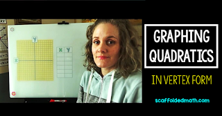This post includes a video teaching students how to graph quadratic functions in vertex form, a link to a free cheat sheet for students to add to their notebooks and a free graphing quadratics in vertex form task cards activity pdf download.