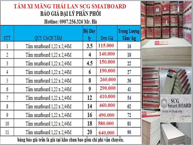 bảng giá tấm xi măng thái lan smatboard SCG