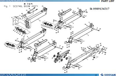Đốt cần, xylanh ra vào cần của Cẩu soosan 7 tấn SCS746-SCS744