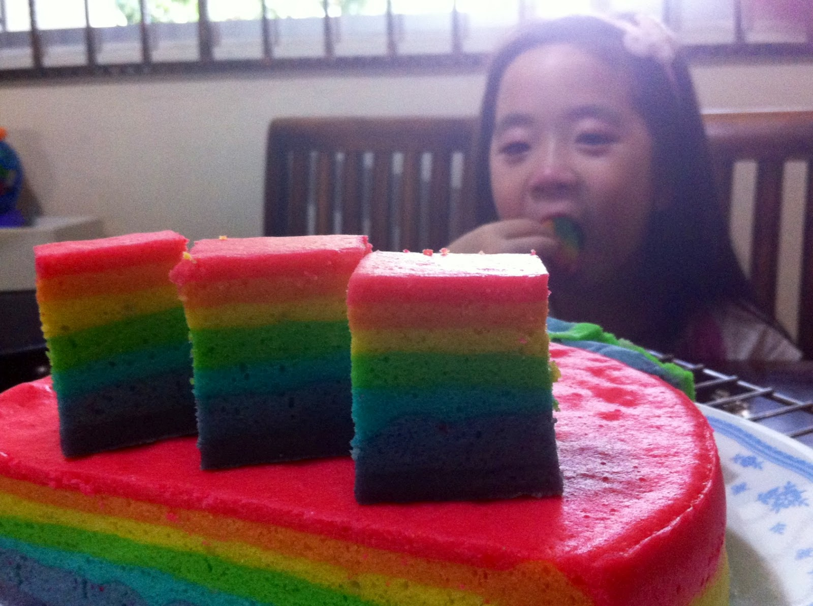 Steamed Rainbow Cake: Mum Loves Cooking: Another Rainbow Cake... Steamed