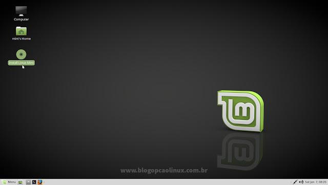 """Clique em """"Install Linux Mint"""""""