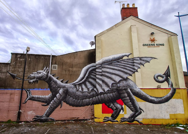 Street Art By Phlegm For Empty Walls Urban Art Festival In Cardiff, Wales. 1