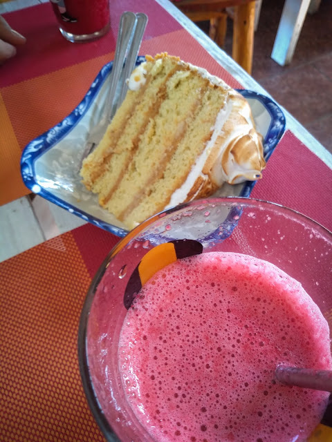 Tres leches + raspberry smoothie in Futaleufú, Chile
