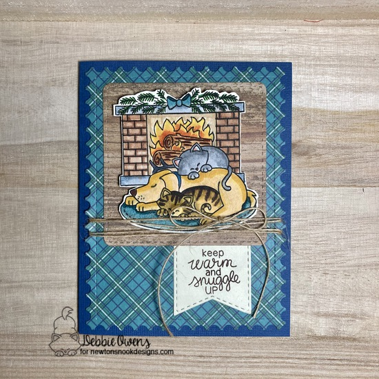 Keep warm and snuggle up by Debbie features Fireside Friends, Framework, and Frames Squared by Newton's Nook Designs; #newtonsnook, #cardmaking, #winter