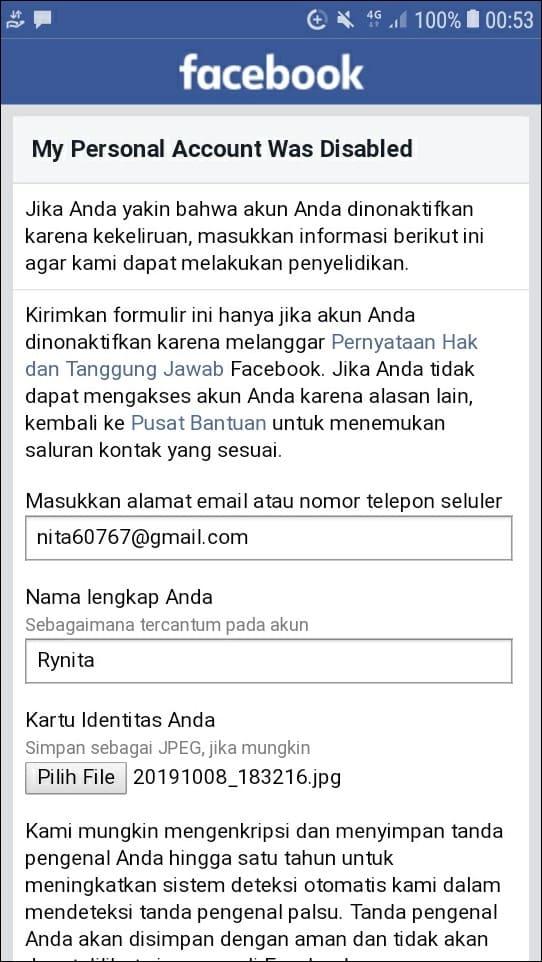 Akun facebook kebal report