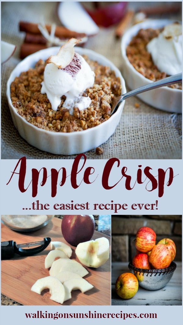 Apple crisp is a dessert consisting of baked chopped apples, topped with a crisp streusel crust.  A delicious dessert made prettier by baking and serving in individual baking dishes.