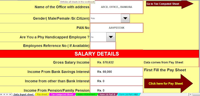 Download Automated Excel Based Software All in One TDS on Salary for West Bengal Govt Employees for F.Y.2019-20 2