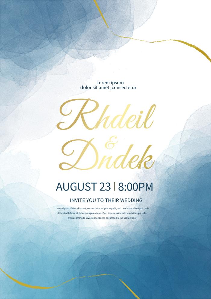 Blue Watercolor Wedding Invitation Premium Template