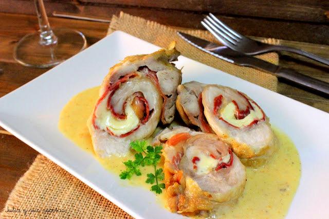 Pechugas de pollo rellenas de jamón y queso. Julia y sus recetas