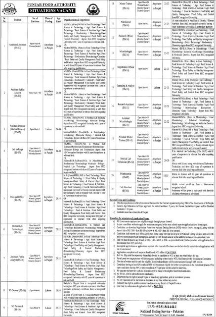 Punjab Food Authority PFA Jobs 2019 Download NTS Application Form