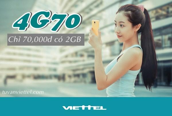 Đăng ký gói cước 4G70 mạng Viettel nhận 2GB lướt 4G xả láng