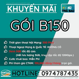 B150 - GÓI KHUYẾN MÃI TRẢ SAU VIETTEL B150