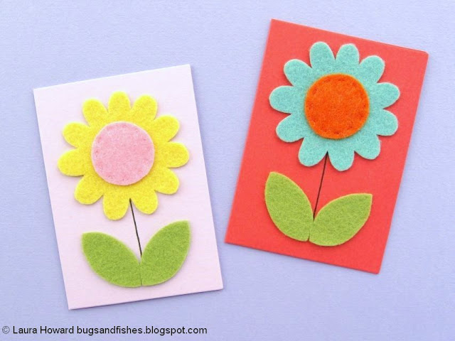 Felt Flower Notecards Tutorial - felt flowers with leaves