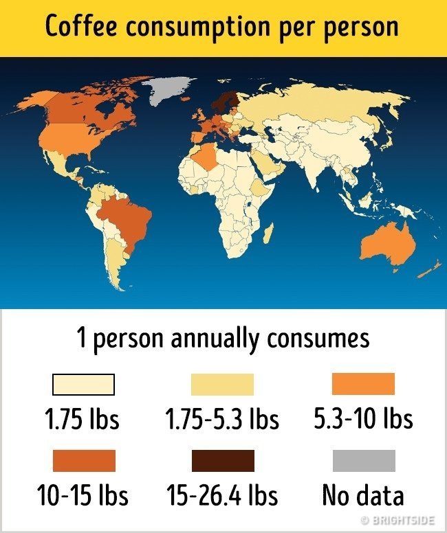 Bản đồ lượng cà phê tiêu thụ trên thế giới
