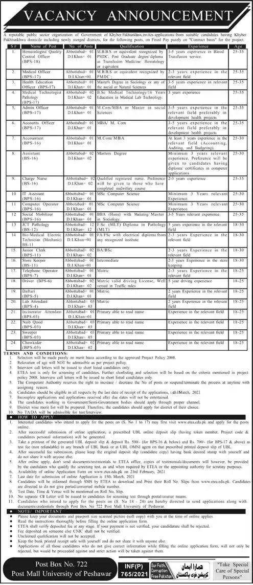 Latest Jobs in Pakistan in PO Box 722 Post Mall University of Peshawar Jobs 2021