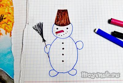 Нарисовать снеговика, фото