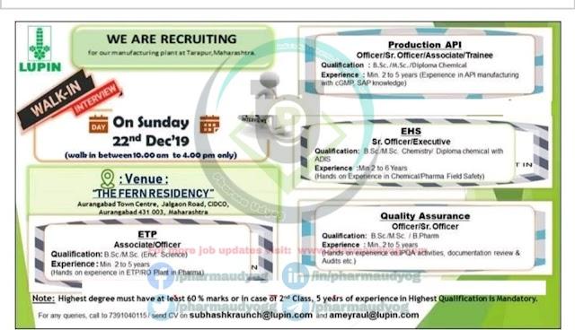 Lupin | Walk-in for Multiple Positions on 22 Dec 2019 | Pharma Jobs in Aurangabad