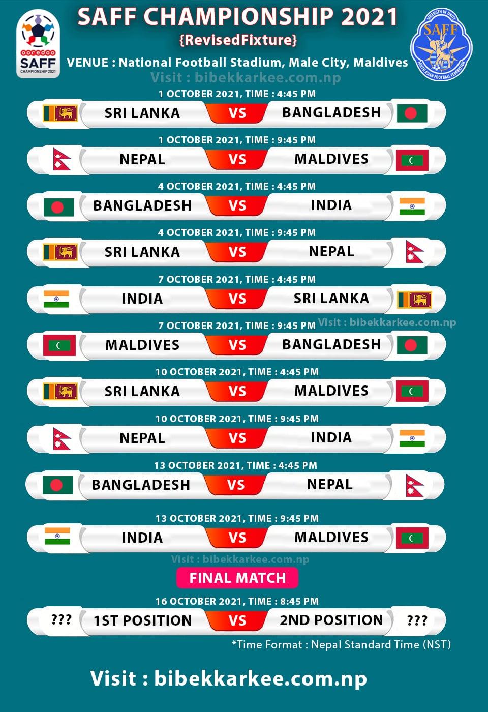 SAFF Championship 2021 fixture, SAFF match schedule