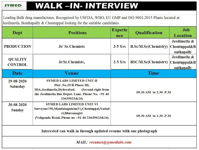 Symed Labs | Walk-in interview for Production/QC on 29&30 Aug 2020