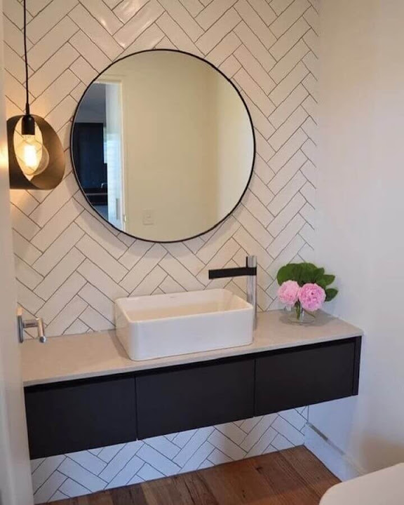 Decoration with round mirror for planned bathroom