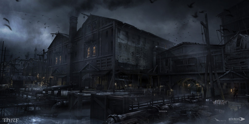 07-Dock-Warehouse-Mathieu-Latour-Duhaime-Concept-Art-for-Thief-Steampunk-feel-Video-Game-www-designstack-co