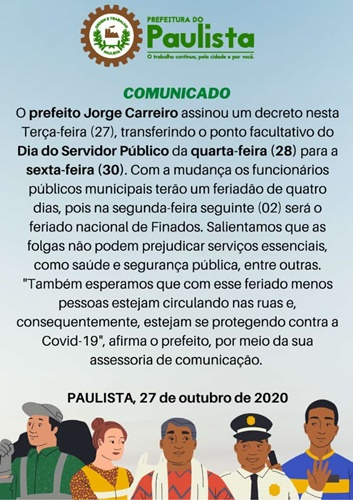 Comunicado da Prefeitura de Paulista