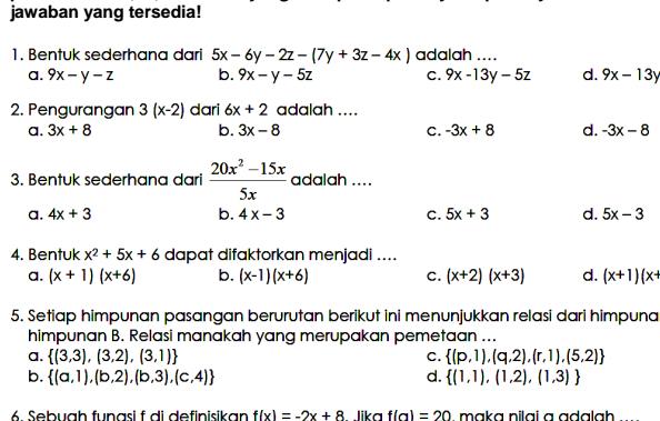 Latihan Soal UTS Matematika SMP Kelas 8 Semester Ganjil Download