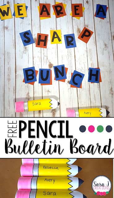 FREE Pencil DIY bulletin board idea that includes the letters and the 3D pencils